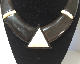Vintage Horn Short Necklace With Triangle Accent 9628
