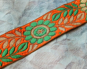 Orange Brocade Trim, Zari Trim, Indian Fabric Trim, Bridal Wear Embellishment, Indian Ribbon, Jacquard Trim - 1 yard