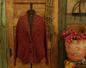 vintage thick dark red & clear metallic fuzzy threads bubble fit oversized sweater coat jacket cardigan