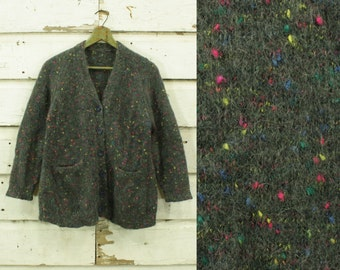 vintage 1960s neon speckled gray mohair sweater cardigan XS S