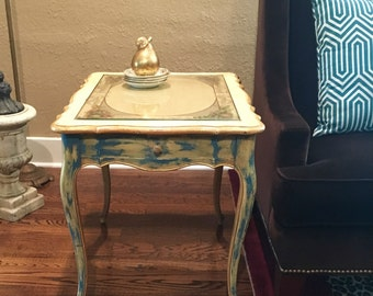 1920's Paris Apartment French Country End Table French Provincial End Table French Shabby