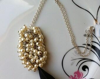 Swarovski Cream Pearl Necklace - Pendant Necklace - Pearl Necklace - Cream and Black Necklace - Cream Pearl necklace - Silver Necklace