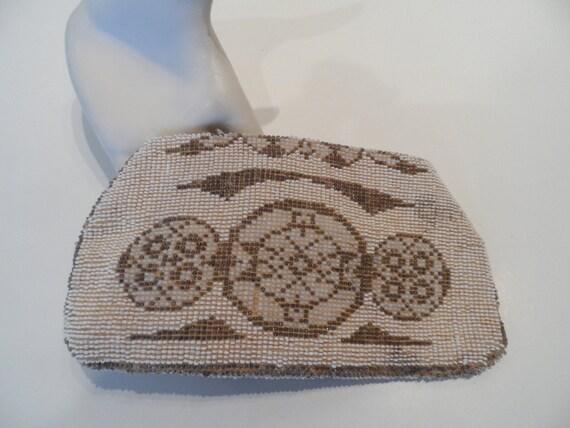 Czechoslovakian 1930's vintage seed purse, lined, original metal zipper