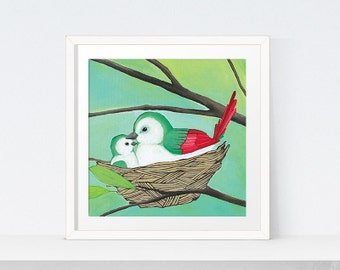 Printable Nursery Bird Prints, Woodlands Nursery Art | Bird Wall Art | Baby Bird Print | Birds Nest Decor | Neutral Nursery Woodlands Decor