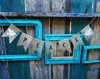 Peace Dove Burlap Banner Garland