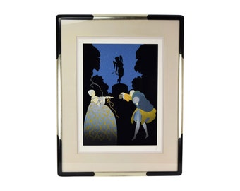 """Erte """"Rendezvous"""" Romantic French Art Deco Limited Edition Screenprint Signed"""