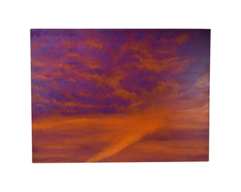 Abstract Orange & Purple Cloud Painting Skyscape Chicago Artist Kopala #7
