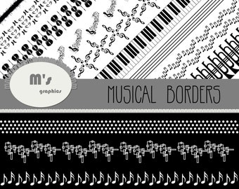 Musical Border Transparent Black and White. Bass Music Piano Trumpet Musical Notes Clef Quarter Note Spectrum