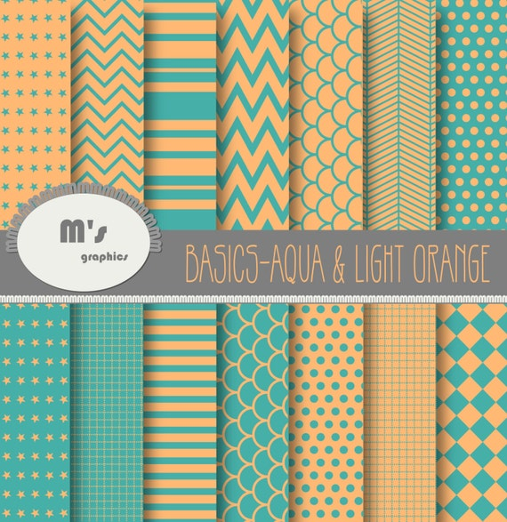 Aqua and Light Orange Digital Paper by MerciesGraphics on Etsy