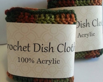 Crochet dishcloth, Crochet dish cloth, Crochet wash cloth, 100% acrylic dish cloth, Set of 2
