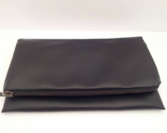 Black Clutch ,Black Foldover Clutch,Clutch with zipper, Christmas Gift, Gift for Her, Accessory, Birthday Gift