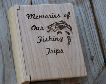 Laser Engraved Wood Photo Album - Memories of our Fishing Trips -  Fishing Photo Album -  Fisherman's Gift Idea - Engraved Gift for Man