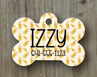 Pet Tags, Personalized Pet Tag, Dog Tag, Custom Dog Tag, Cat Tag, Custom Cat Tag, Pet Accessory, Pet ID Tag, Paw Print, Pineapple, ID Tag