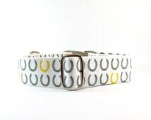 Horseshoe dog collar. Grey and yellow dog collar. Lucky horseshoe dog collar. Canadian collars, martingales and leashes.