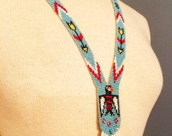 Beautifully beaded vintage Indian  Huichol necklace.