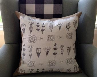 Botanical Pillow Cover, Decorative Pillow, Throw Pillow, Housewarming Gift, Bridal Gift