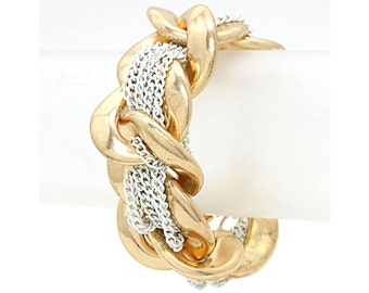 Chunky Gold & White Chain Woven Curb Link Bracelet