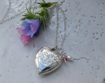 """Vintage Heart Locket in Sterling  Silver.Engraved """"You and Me Always""""  In French .The most romantic locket...."""