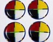 "Colour Wheel - 1"" Round Epoxy Cab - 2 pairs"