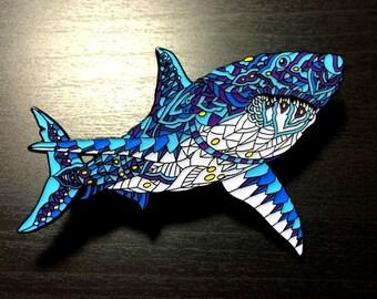 Bioworkz Ornate Shark Pin - Blue