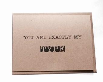 Valentine Card - For him - For her - Valentine Typewriter Card - Rustic Valentine Card - Proposal - Kraft Valentine Card