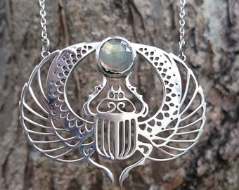 Scarab Beetle Necklace - Silver and Labradorite