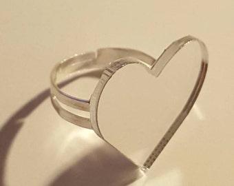 Mirror heart adjustable ring