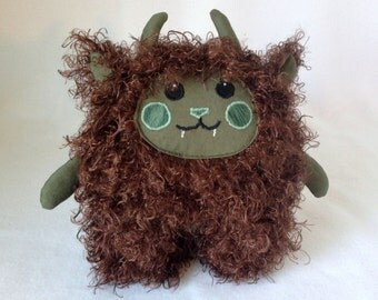Cuddly Brown and Green Monster Plushie