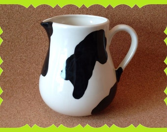 House Warming-Gift-New Home-Ceramic-Pitcher-Cow-Bovine-Spots-Country- Accent-Decor-Birthday-Mother's Day