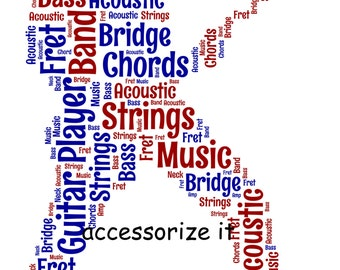 A4 or 5x7 Personalised Guitar Player Word Art Print * Digital File Also Available *