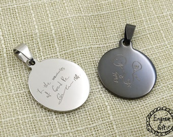 Actual Handwriting , Children art Disc Necklace - Personalized Circle Necklaces - Memorial Signature Jewelry - Bridesmaid Jewelry