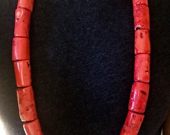 On SALE- Large Coral Barrel Necklace