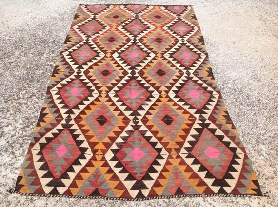 "8'9"" x 4'8""  Diamond design Kilim rug, Pastel color Vintage Turkish rug, rugs, muted colored area rug, bohemian rug, large rugs, rug,"