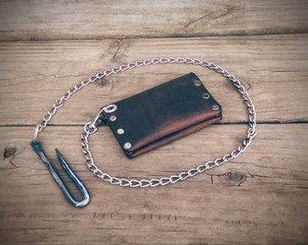 Leather Biker Wallet, Snap Wallet, Goth Wallet, Chain Wallet, Men's Wallet, Riveted Wallet (Saddle)