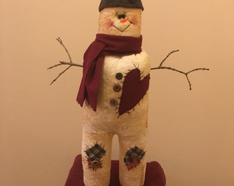 Handcrafted Primitive Papa Snowman