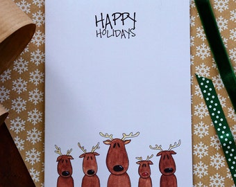 Reindeermas. Reindeers Christmas card. Cute Rudolph reindeer greeting card.