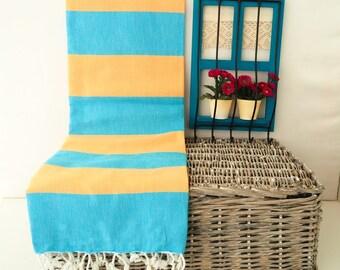 Turquoise and Apricot Stripe Turkish Towel,Turquoise and Apricot Cotton Towel,Turquoise  & Apricot Peshtemal,Turquoise Stireped Beach Towel
