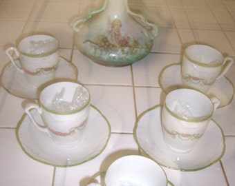 Handpainted French Tea Set w/6 cups and saucers