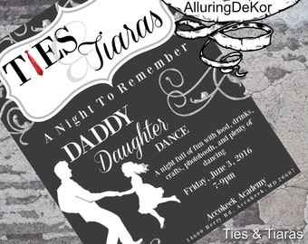 Daddy Daughter Dance Ties Tiaras Ball Invitation