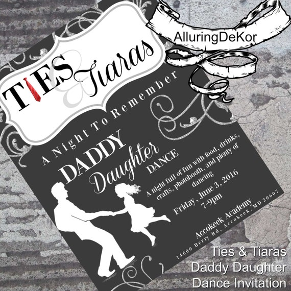 Daddy Daughter Dance: Ties & Tiaras Ball Invitation
