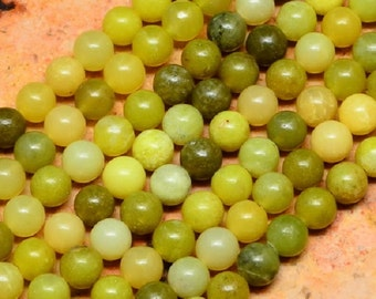"Green 8mm Round Natural Korean Jade Gemstone Beads (16"" Strand)"