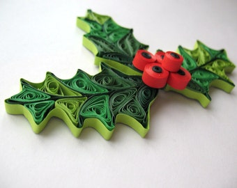Quilled mistletoe christmas decoration, Holiday ornaments, paper quilling