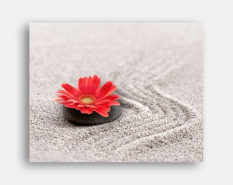 Zen photo, Meditation decor, Zen print Sand garden, Red Flower still life, Zen print, Digital Print Instant download, 8x10, free shipping