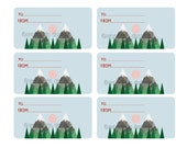 Printable DIY Gift Tags, Low Poly Geometric Mountain Art, 6 per sheet, pdf files, INSTANT DOWNLOAD, Birthday Gift Tags