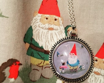 Cath Kidston garden gnome print round pendant necklace