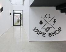 Removable Vinyl Sticker Mural Decal Wall Decor Poster Art Vaporizer Vape Cafe Smoke Shop Bar E Cigarettes Liquid Indoor Outdoor Sign SA758