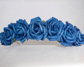 Floral Crown Flower Headband Hairband - Royal Blue Roses Wedding Festival Hair Accessories Bridal Bridesmaid Flowergirl Special Occasion
