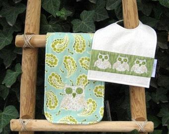 What a Hoot Burp Cloth and Bib Set-Appliqued Owls-Paisley-Super Absorbent-Reversible Bib