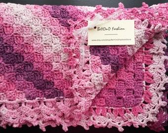 Baby blanket pink to plum gradient crochet cotton blanket corner to corner blanket Ready to ship Beyond Fashion