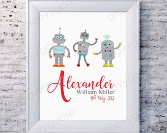 Illustrated Birth Announcement Print ROBOT TRIO / Kids Room Decor/ Kids Wall Art / Nursery Wall Art / Personalised Prints